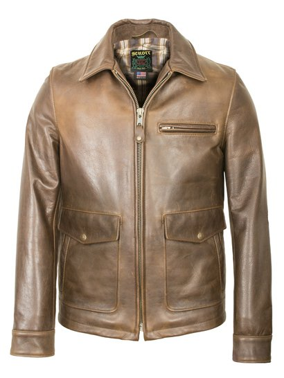 563 - Waxy Natural Cowhide Delivery Jacket (Brown)
