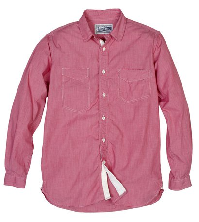 SH1327 - Fine Weave Ticking Stripe Cotton Shirt (Red)