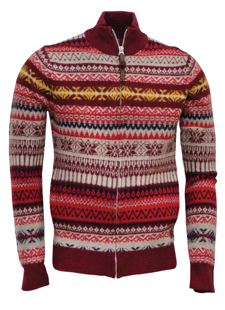 26 Wool Blend Jacquard Zip Front Fair Isle Sw1297