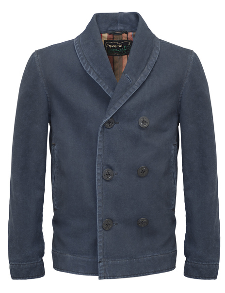 28 Stone Washed Shawl Collar Canvas Peacoat 81297