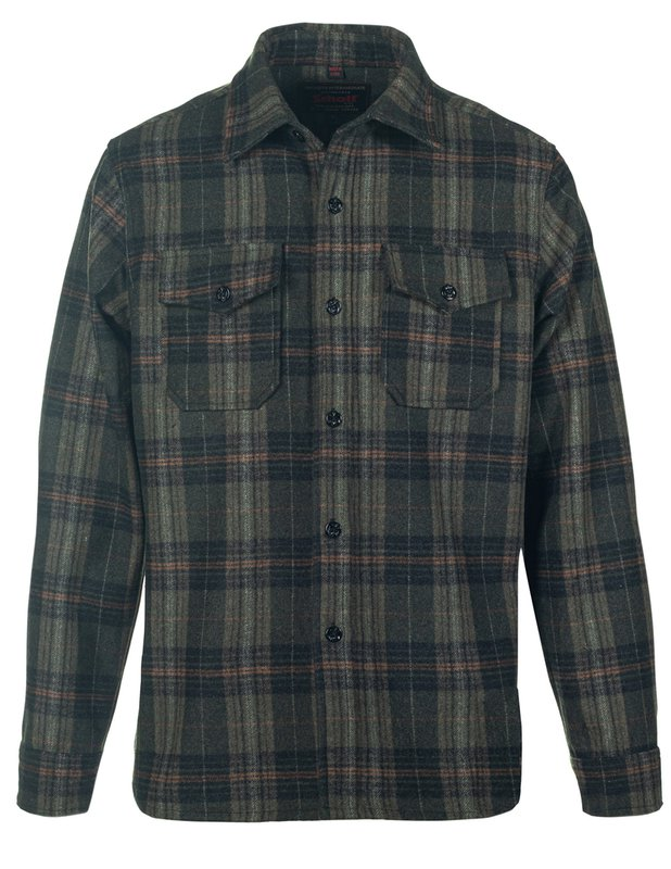 Men's Vintage Workwear Inspired Clothing Plaid Wool Blend CPO Shirt $140.00 AT vintagedancer.com