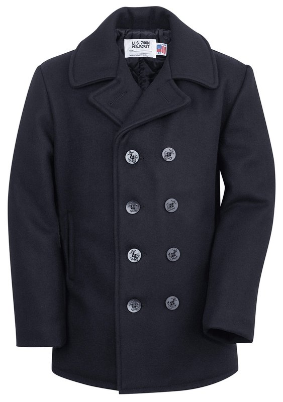 Men's Vintage Jackets & Coats Classic Melton Wool Navy Pea Coat $310.00 AT vintagedancer.com