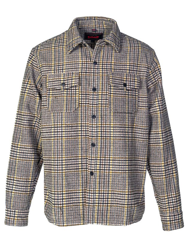 Men's Vintage Sweaters, Retro Jumpers 1920s to 1980s Glenn Plaid Wool CPO Shirt $140.00 AT vintagedancer.com