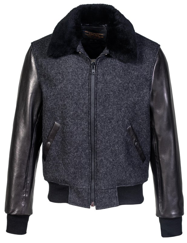 50s Men's Jackets | Greaser Jackets, Leather, Bomber, Gabardine Mens  B-15 Style Wool Jacket Leather Sleeves and Genuine Sheepskin Collar $610.00 AT vintagedancer.com