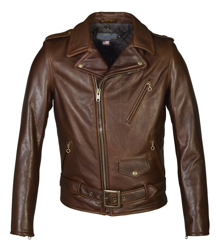 1920s Men's Coats & Jackets History Waxy Natural Cowhide 50s Perfecto® Motorcycle Leather Jacket $900.00 AT vintagedancer.com
