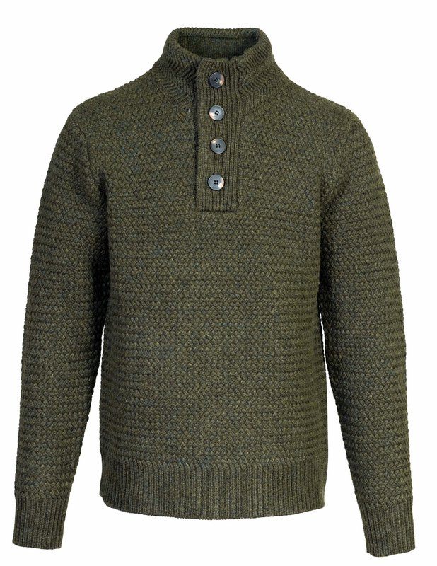 Men's Vintage Sweaters, Retro Jumpers 1920s to 1980s Mens Funnel Neck Military Sweater $140.00 AT vintagedancer.com