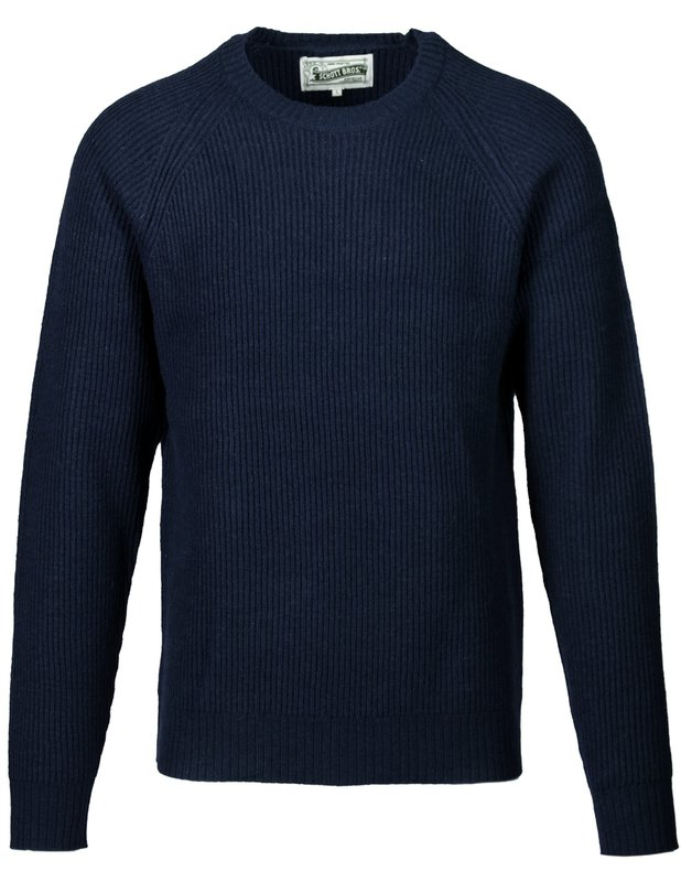 Men's Vintage Sweaters, Retro Jumpers 1920s to 1980s Ribbed Wool Crewneck Sweater $95.00 AT vintagedancer.com