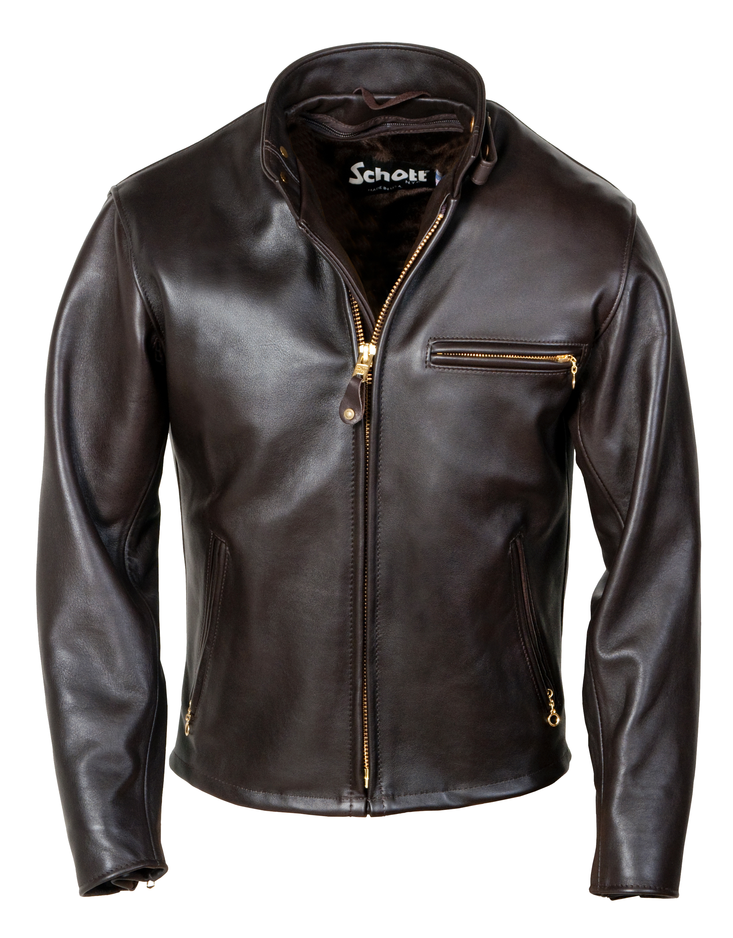 6f54259741a Schott N.Y.C. 141 Classic Racer Leather Motorcycle Jacket - Brown Size 32