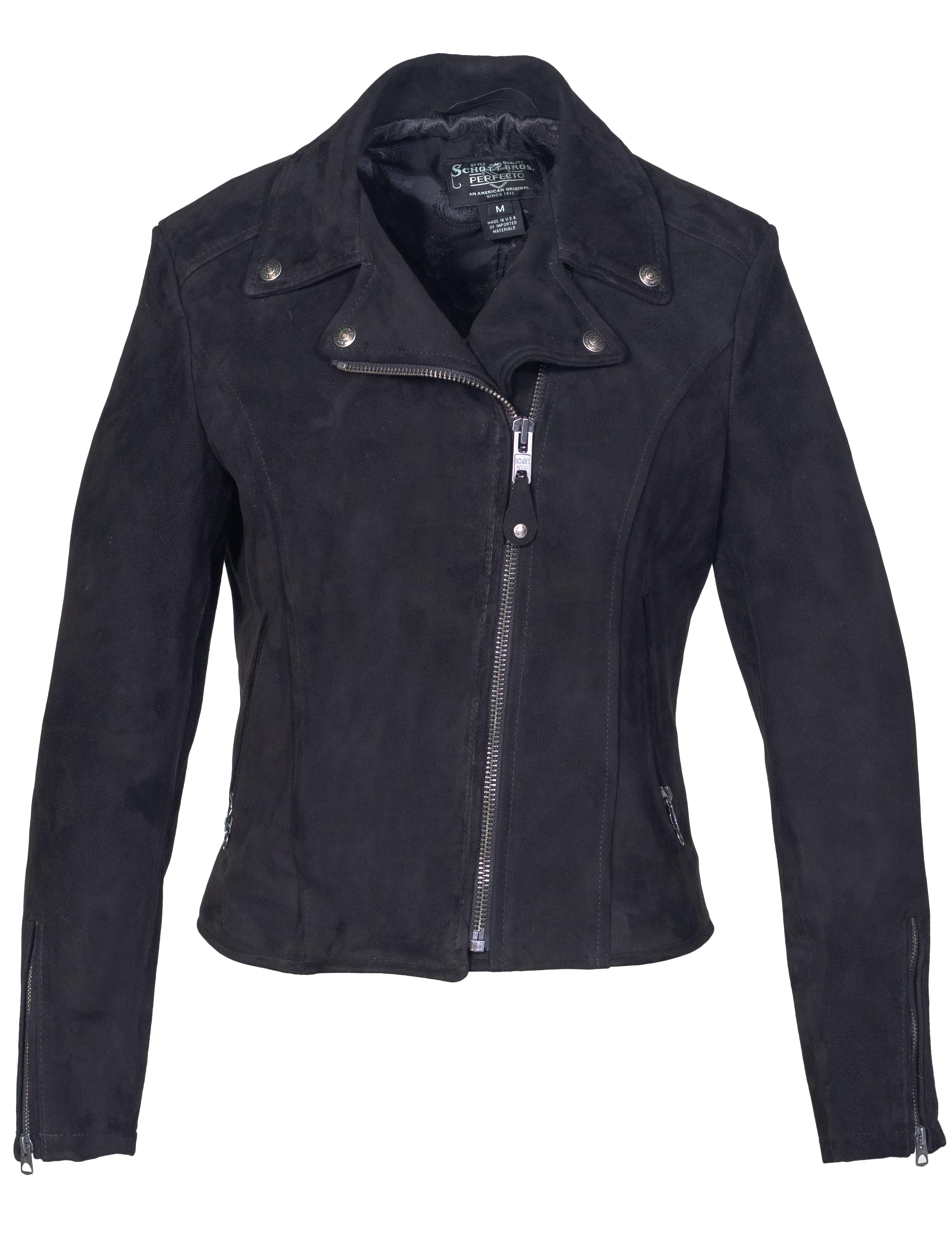 Schott N.Y.C. 206W Women's Fitted Suede Motorcycle Jacket