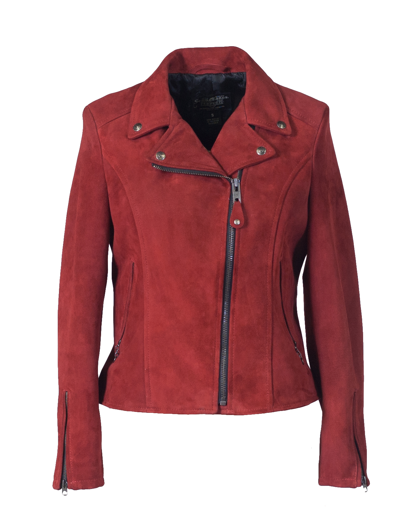 Schott N.Y.C. 206W Women's Fitted Suede Motorcycle Jacket