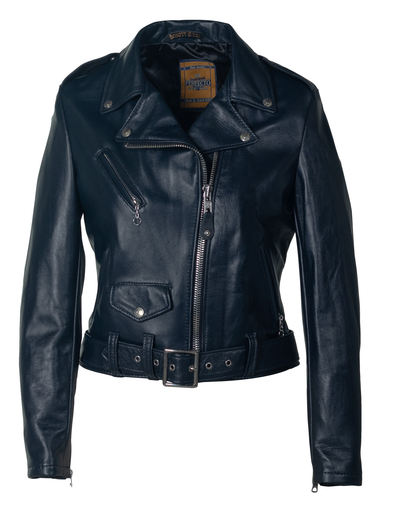 Schott N.Y.C. 210W Women's Cropped Perfecto® in Lambskin Leather Jacket