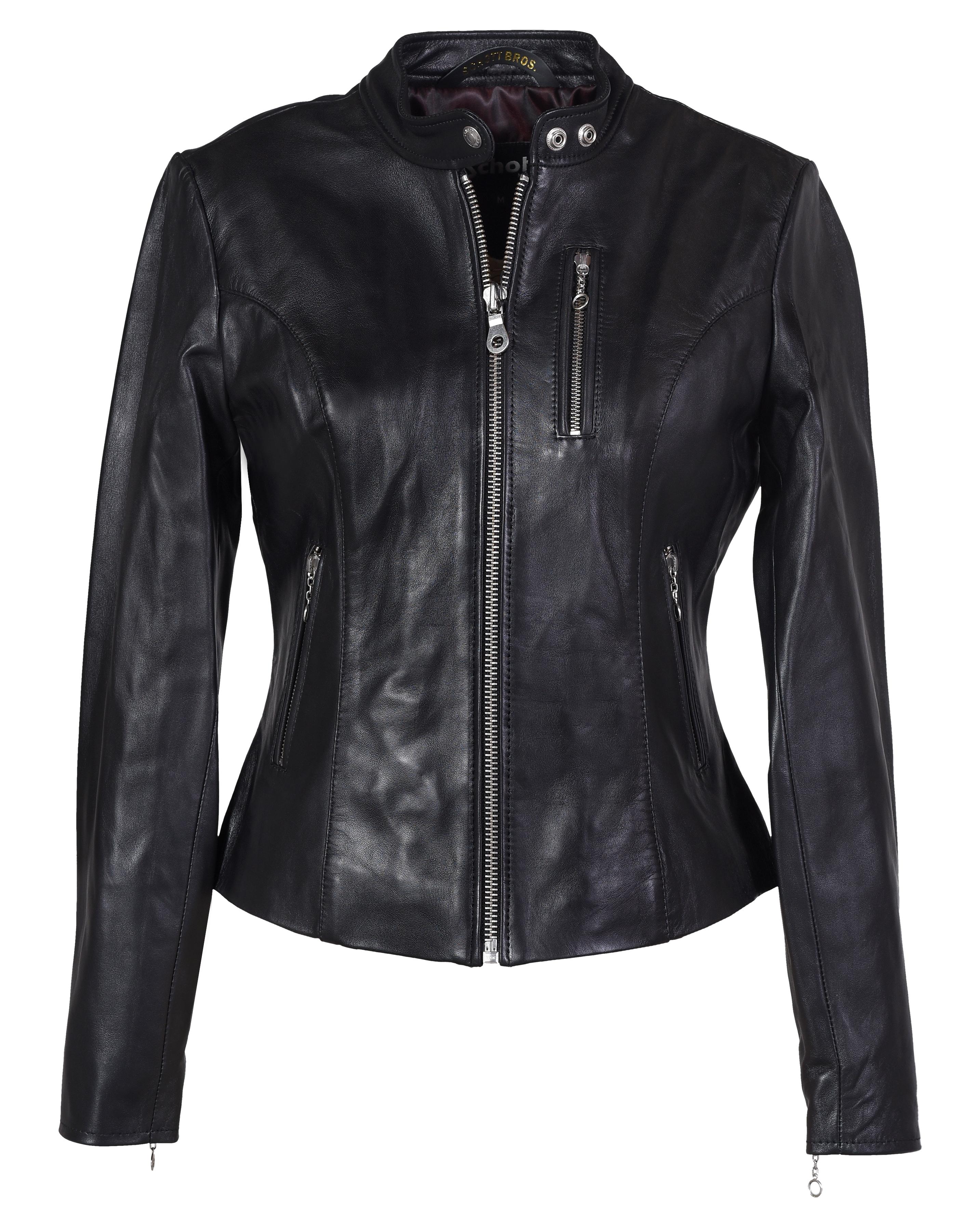 """Schott N.Y.C. 21141W Women's Lambskin """"Cafe"""" Leather Jacket"""