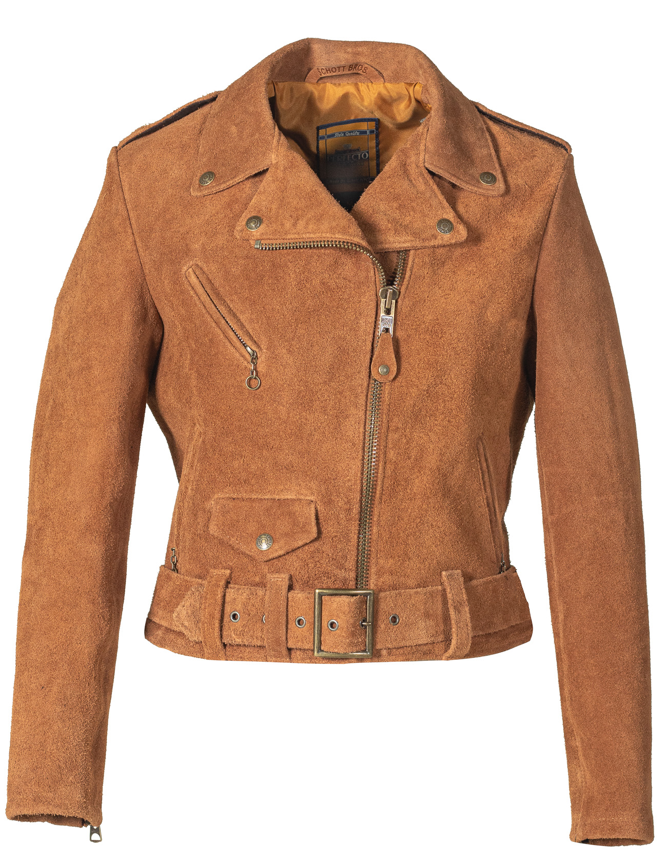 Schott N.Y.C. 318W Women's Rough Out Cow Suede Cropped Perfecto Jacket