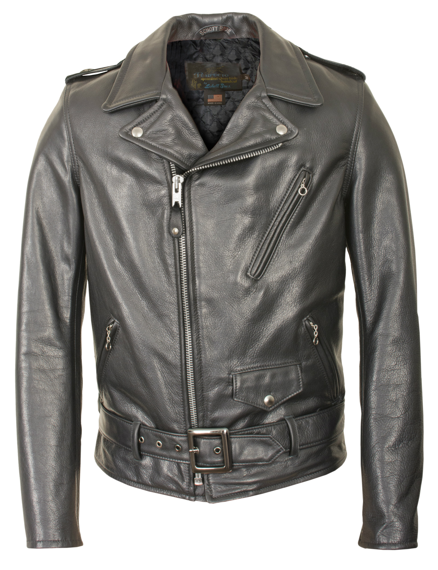 8bee8659e Schott N.Y.C. 519 Waxy Natural Cowhide 50's Perfecto® Motorcycle Leather  Jacket - Black Size XS