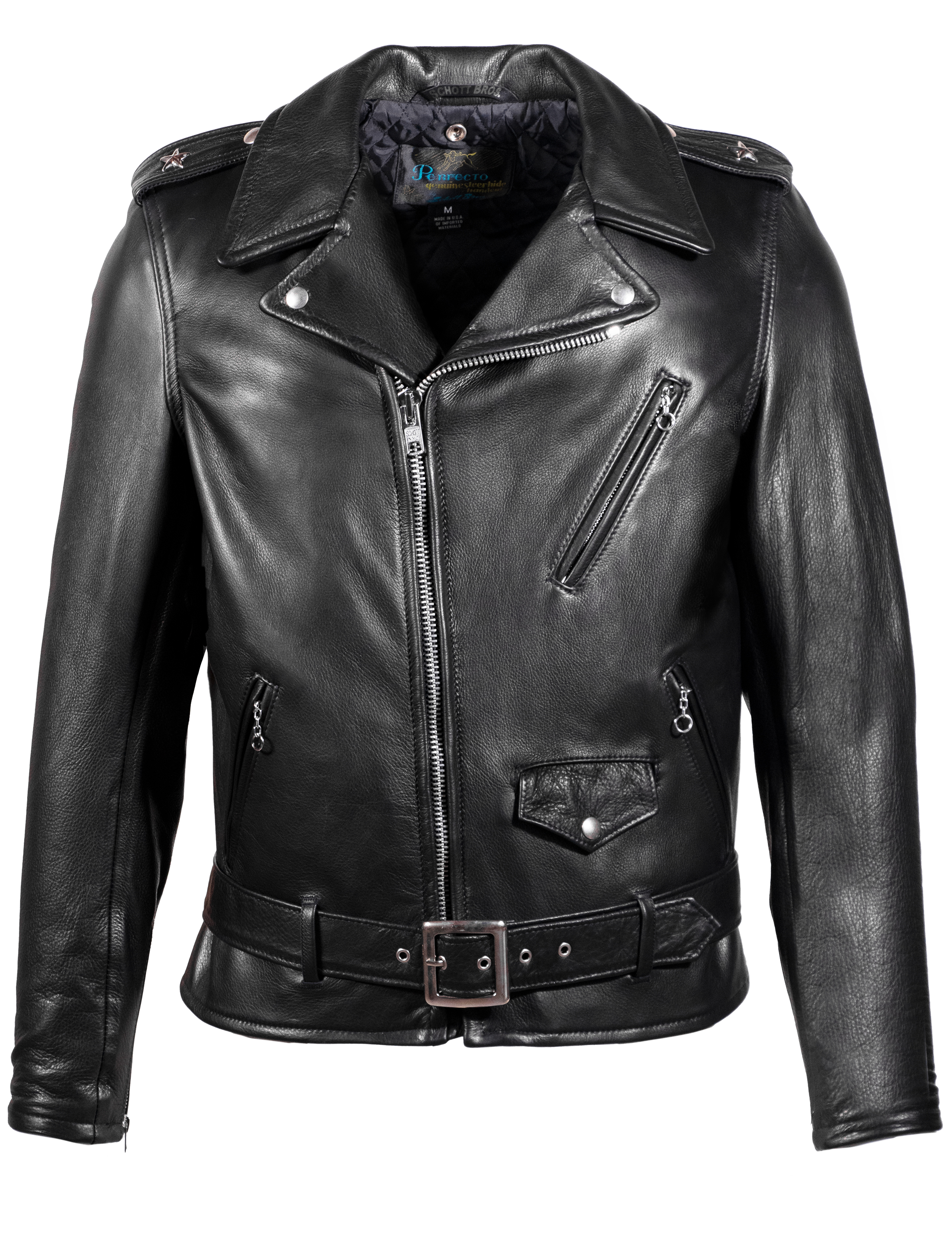 Schott N.Y.C. 519 Waxy Natural Cowhide 50's Perfecto® Motorcycle Leather Jacket