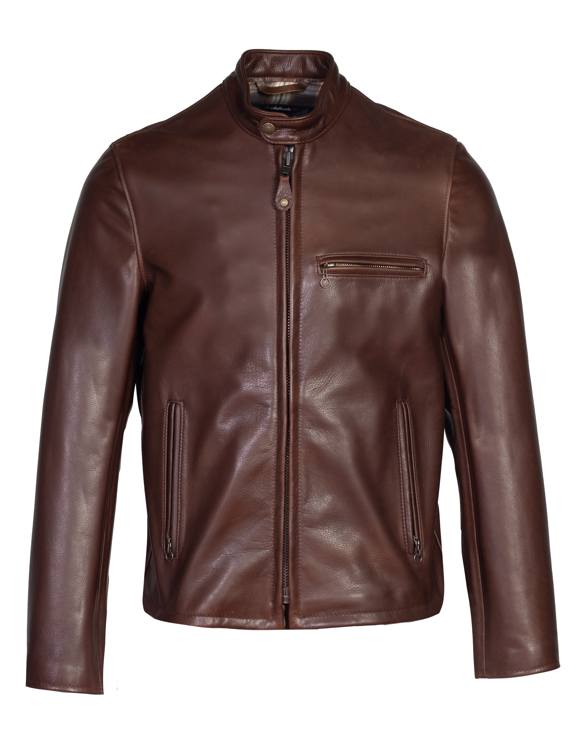 Schott N.Y.C. 530 Waxed Natural Pebbled Cowhide Café Leather Jacket
