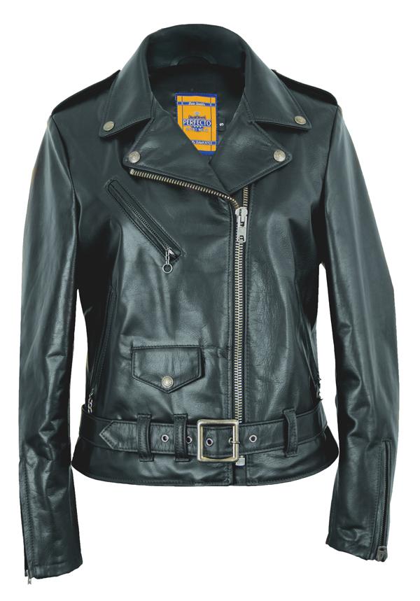 "Schott N.Y.C. 536W Women's 23"" Waxy Natural Grain Cowhide Perfecto® Asymmetrical Leather Jacket"