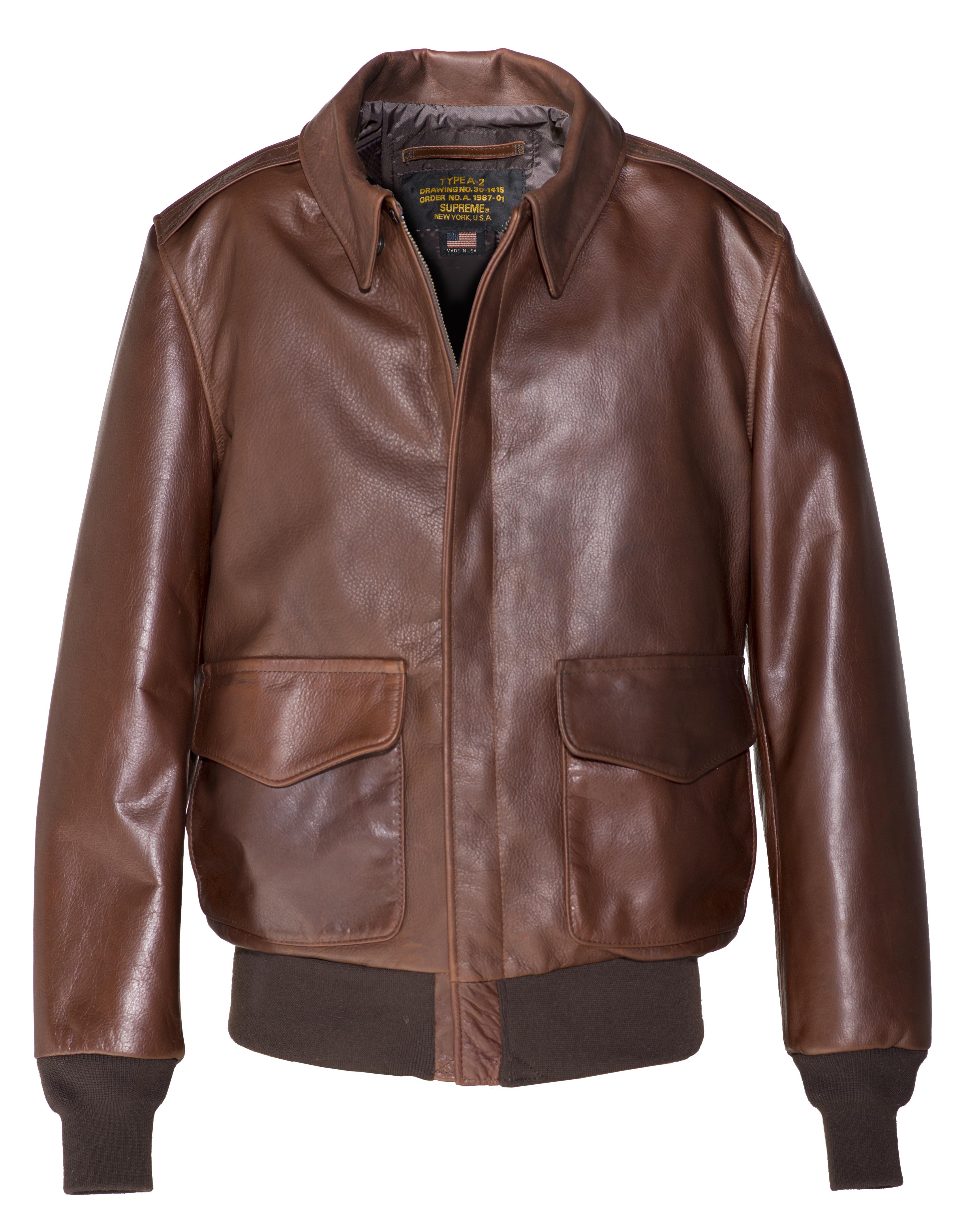 Schott N.Y.C. 574 Waxed Natural Pebbled Cowhide A-2 Leather Flight Jacket