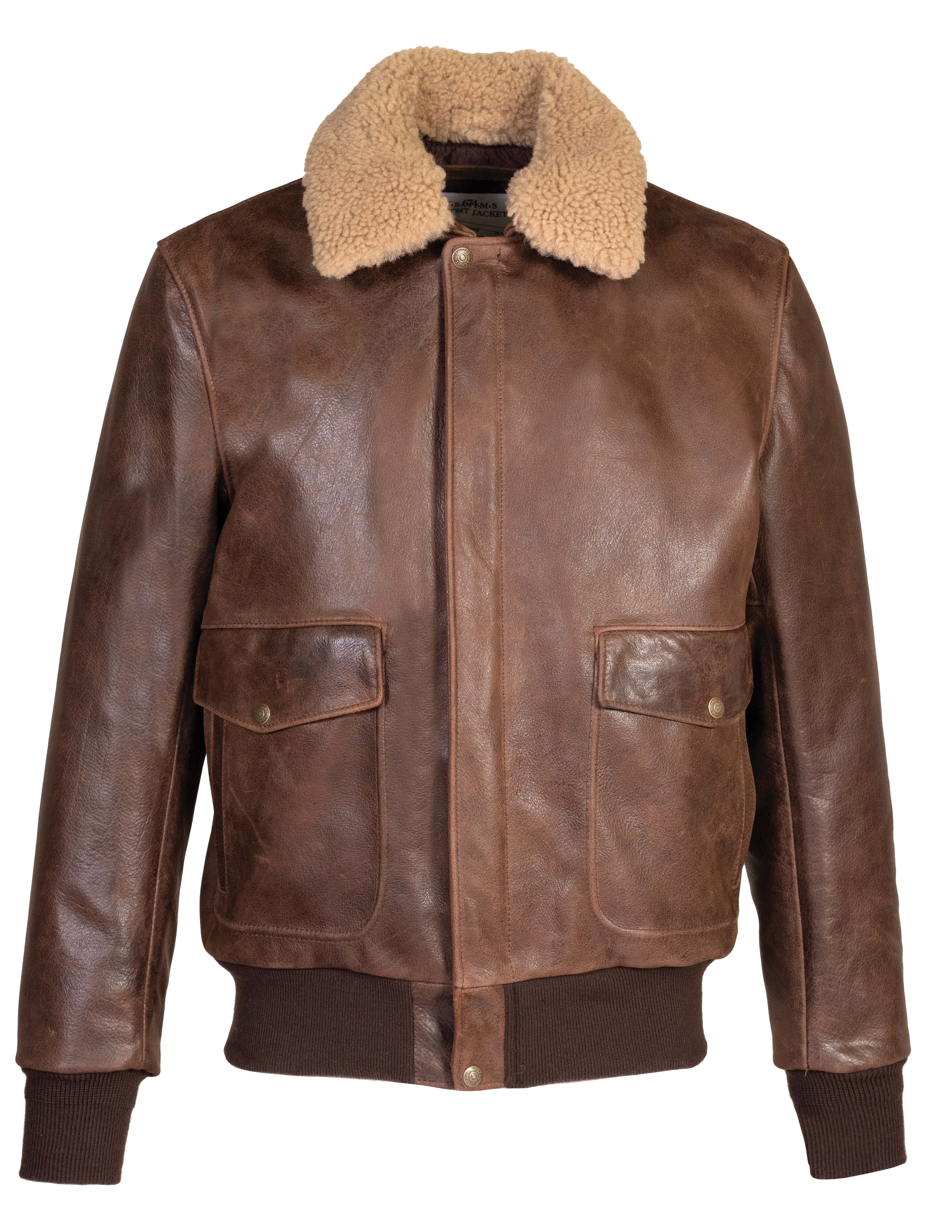 a31d8eb38 Schott N.Y.C. 594 Naked Buffalo Bomber Jacket - Brown Size XS