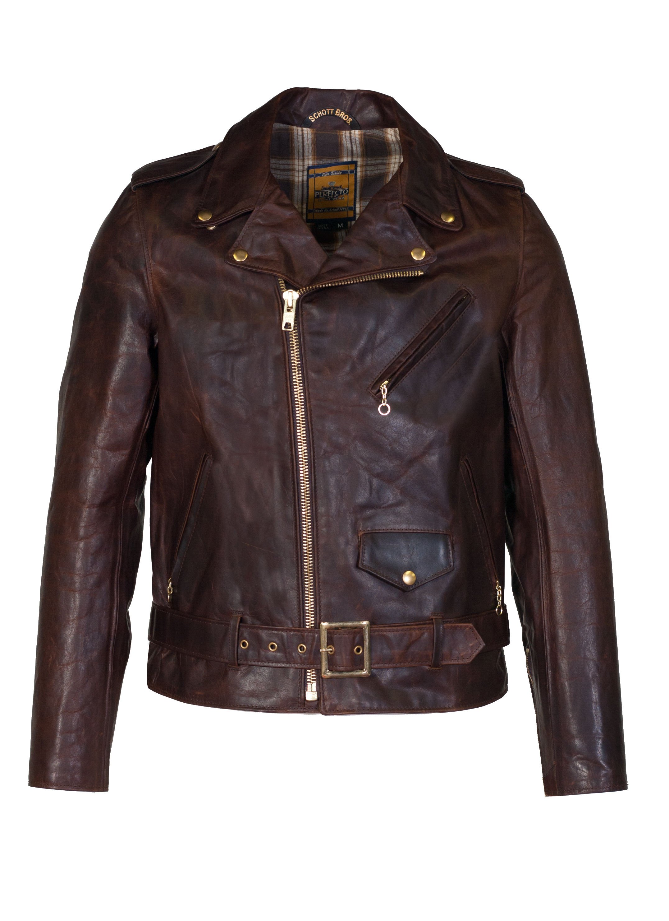 Schott N.Y.C. 619 Hand Oiled Lightweight Naked Perfecto® Motorcycle Jacket with Plaid Cotton Lining