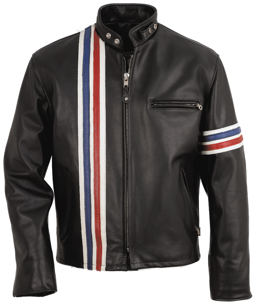 Schott N.Y.C. 671 Easy Rider Striped Leather Motorcycle Jacket