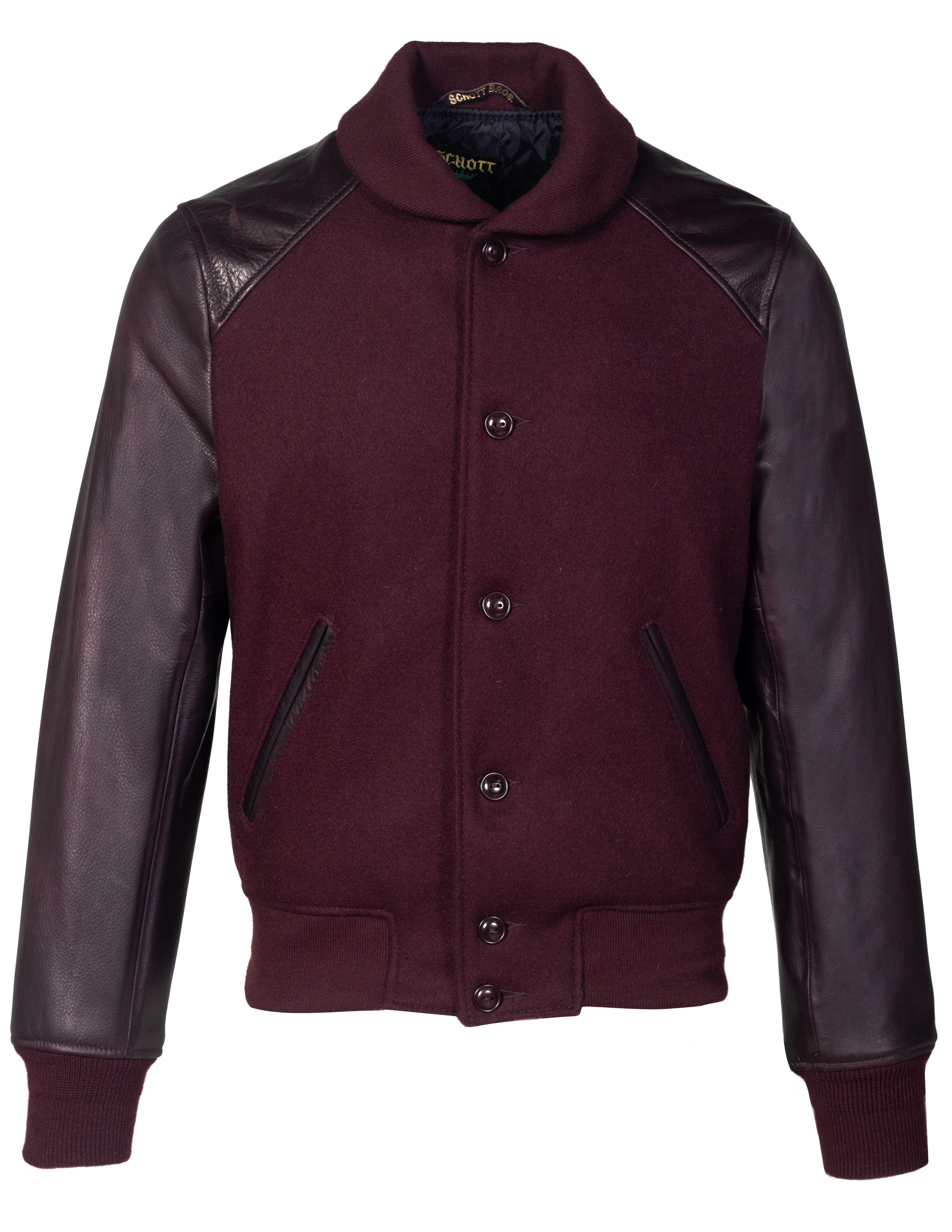 62f415bd4 Schott N.Y.C. 770 Men's Melton Wool 70's Varsity Jacket with Leather  Sleeves - Burgundy Size XS