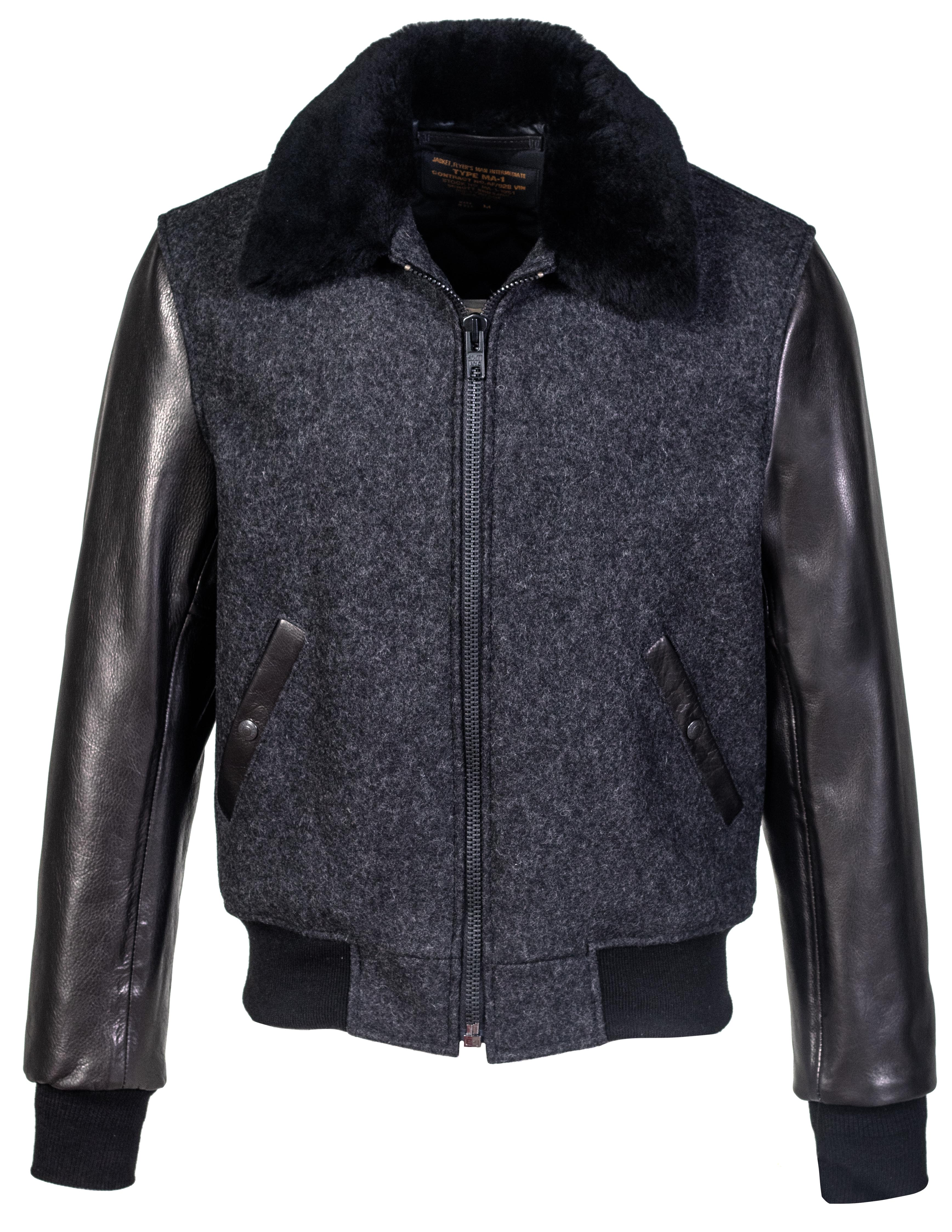 81dd59d91 Schott N.Y.C. 793 Men's B-15 Style Wool Jacket, Leather Sleeves and Genuine  Sheepskin Collar - Dark Oxford Grey Size S