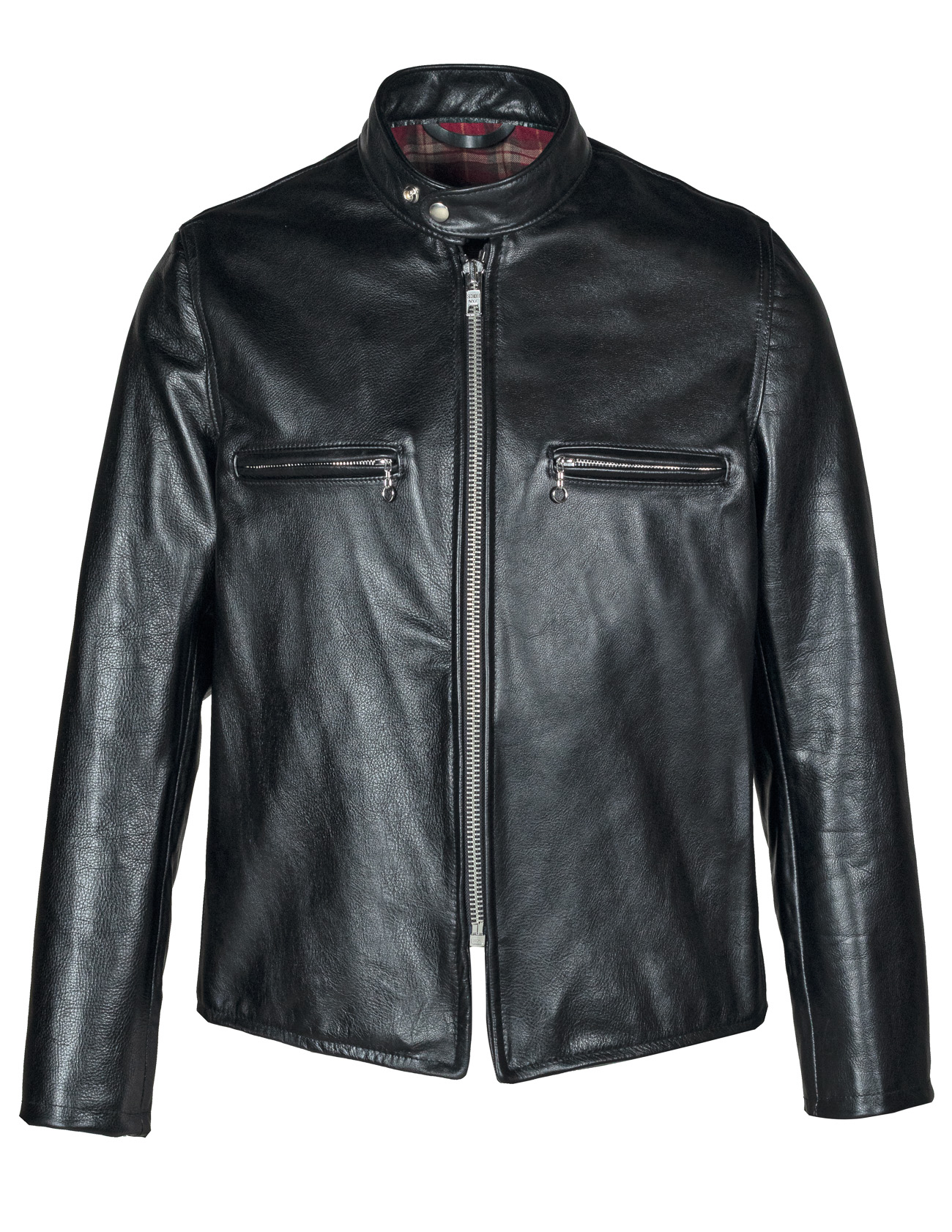 Schott N.Y.C. CAF1 Men's Black Leather Cafe Racer Motorcycle Jacket