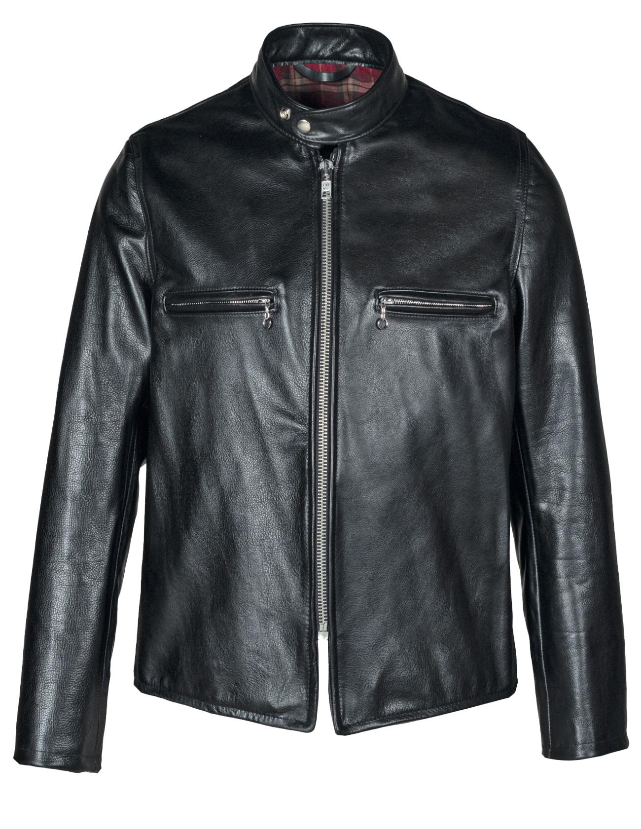 Schott N.Y.C. CAF1 Men's Black Leather Cafe Racer Motorcycle Jacket