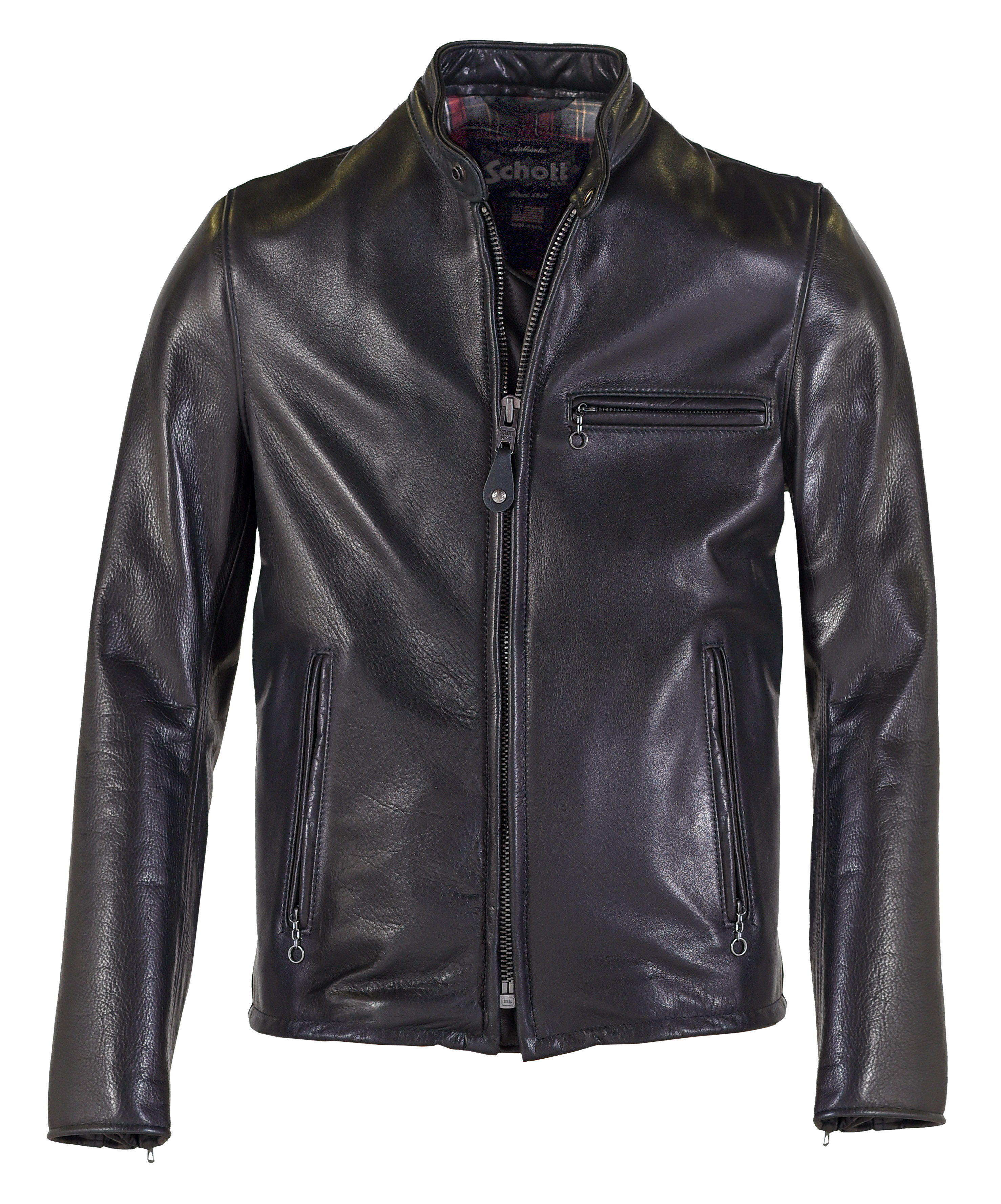 online big selection pick up Schott N.Y.C. 530 Waxed Natural Pebbled Cowhide Café Leather Jacket