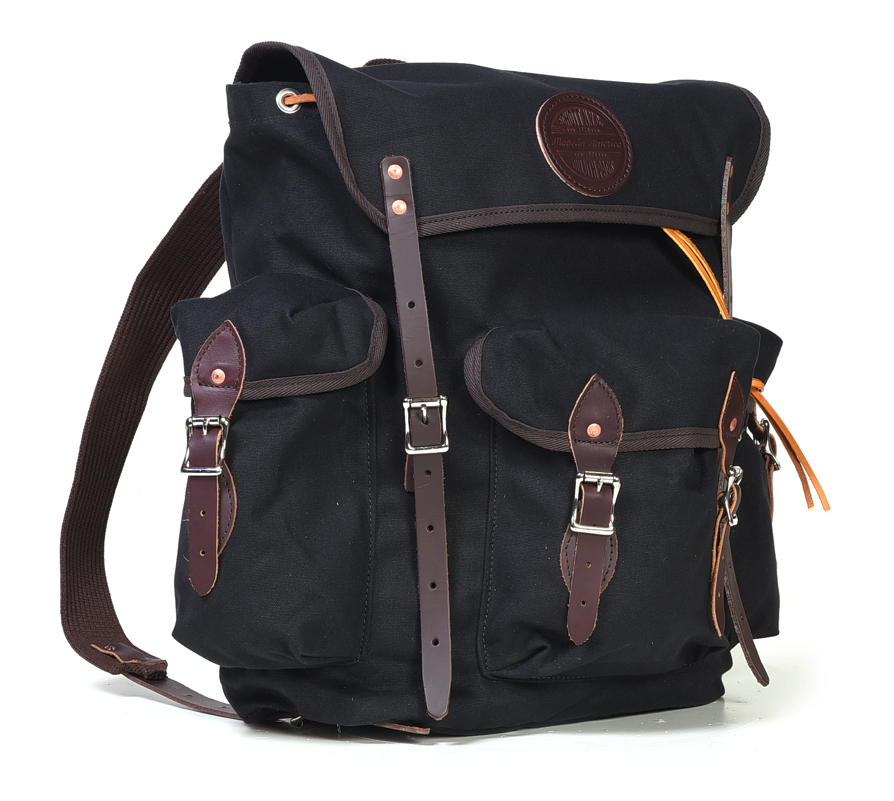 Schott N.Y.C. BC7121 Black Cotton Canvas Backpack