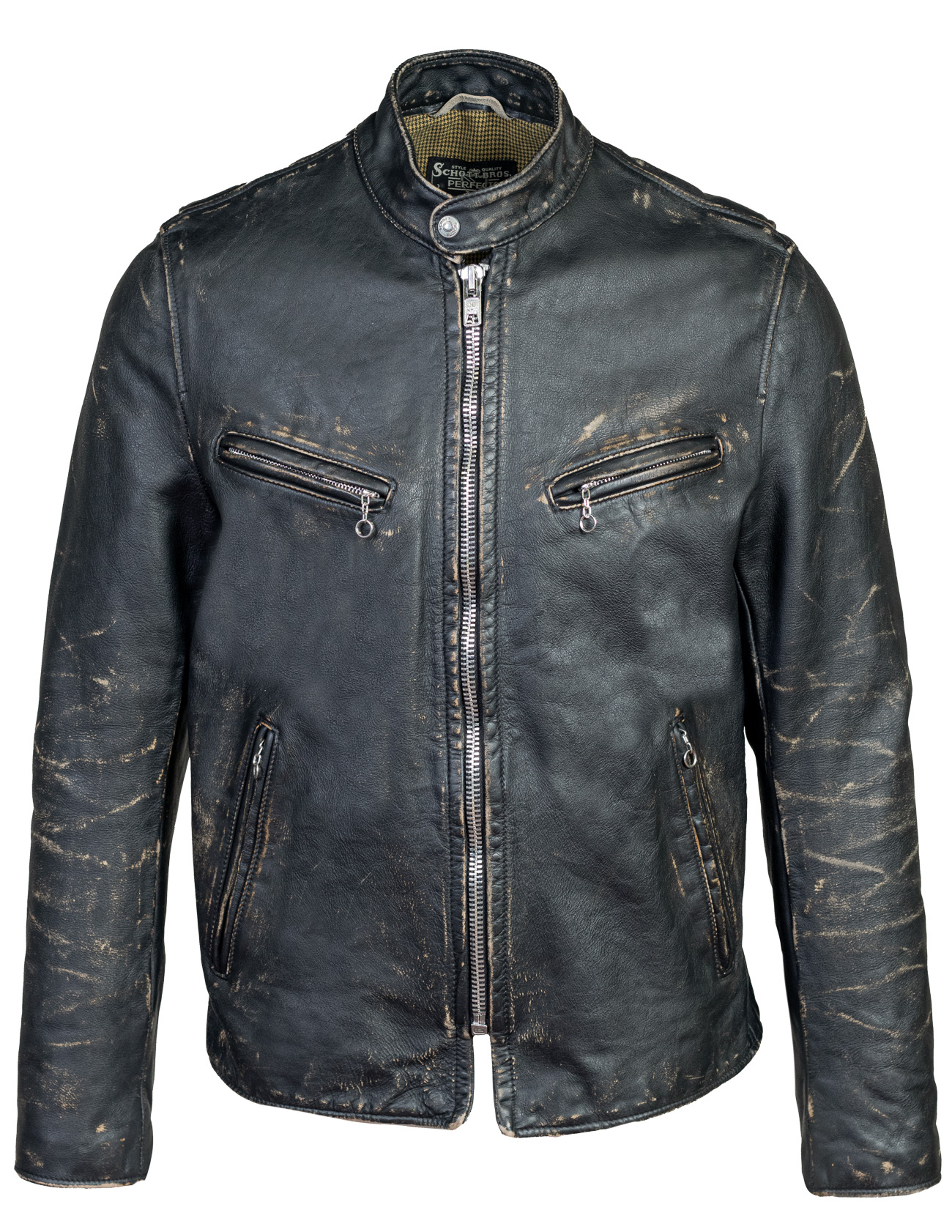 Perfecto® Brand PER41 Hand Vintaged Cowhide Café Racer Jacket