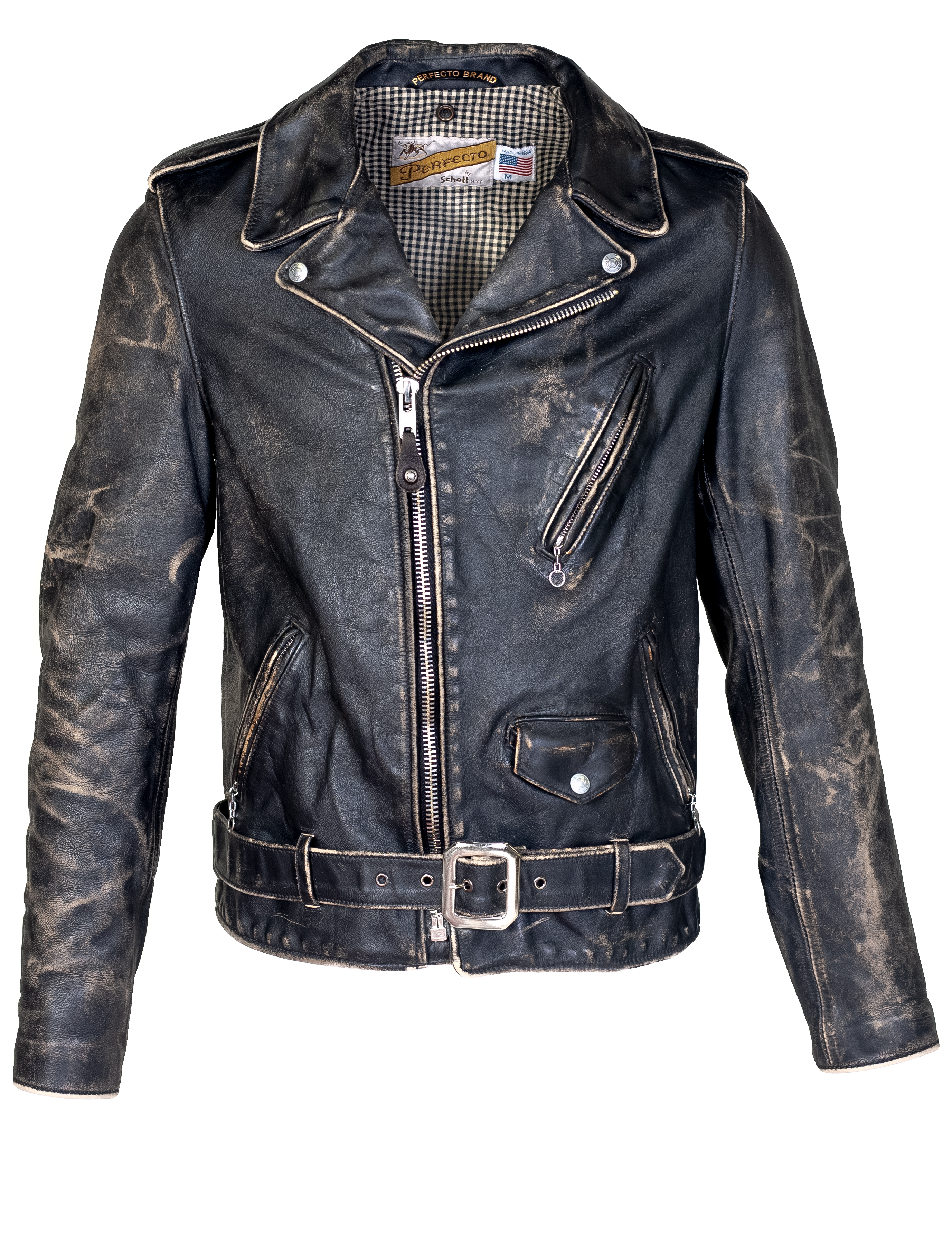 Perfecto® Brand PER70 Men's Vintaged Fitted Motorcycle Jacket
