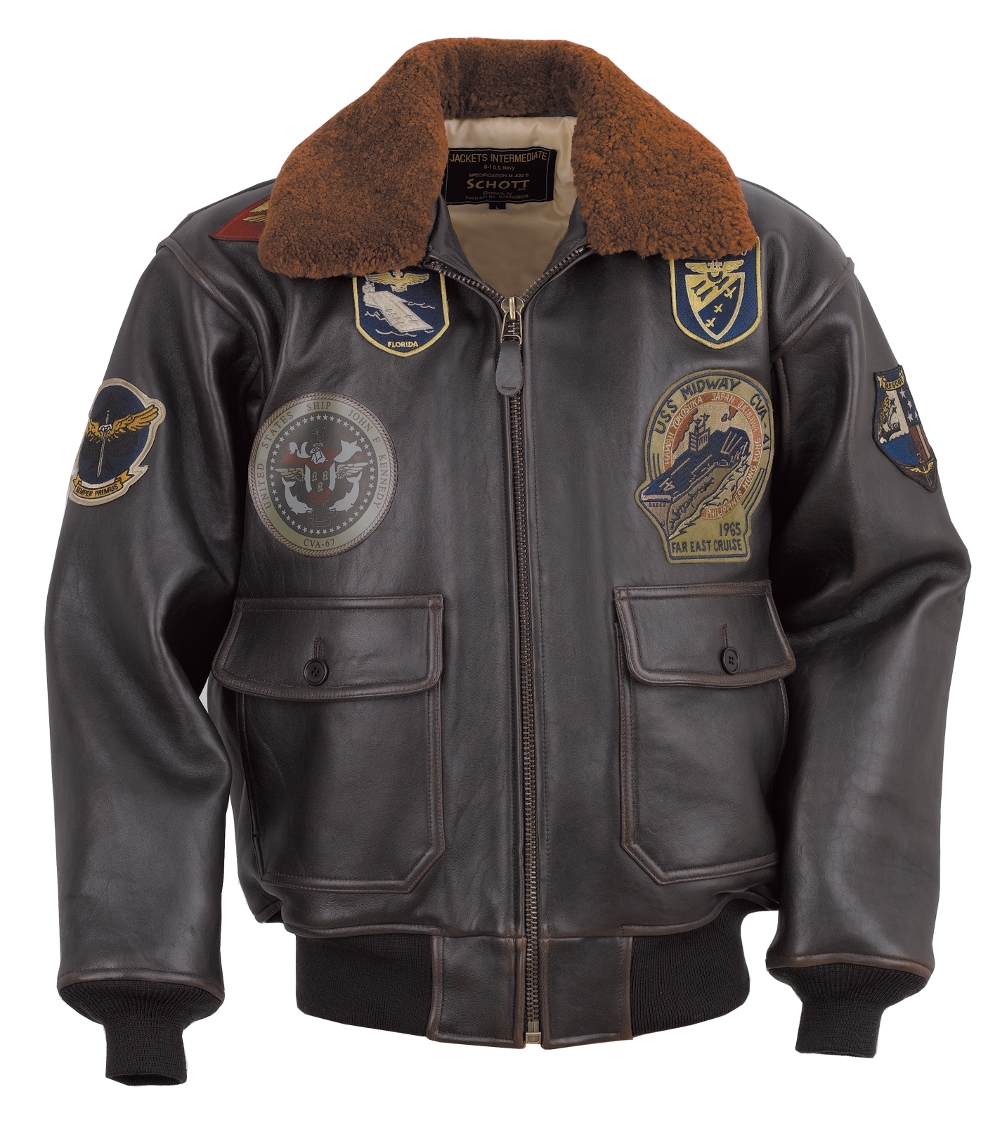 Schott N.Y.C. G1TG G-1 Wings of Gold Leather Bomber Jacket