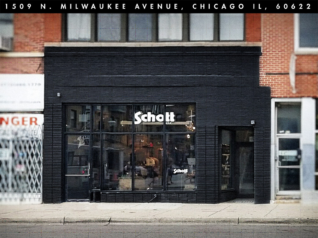 Store front of the Schott NYC flagship store in Chicago