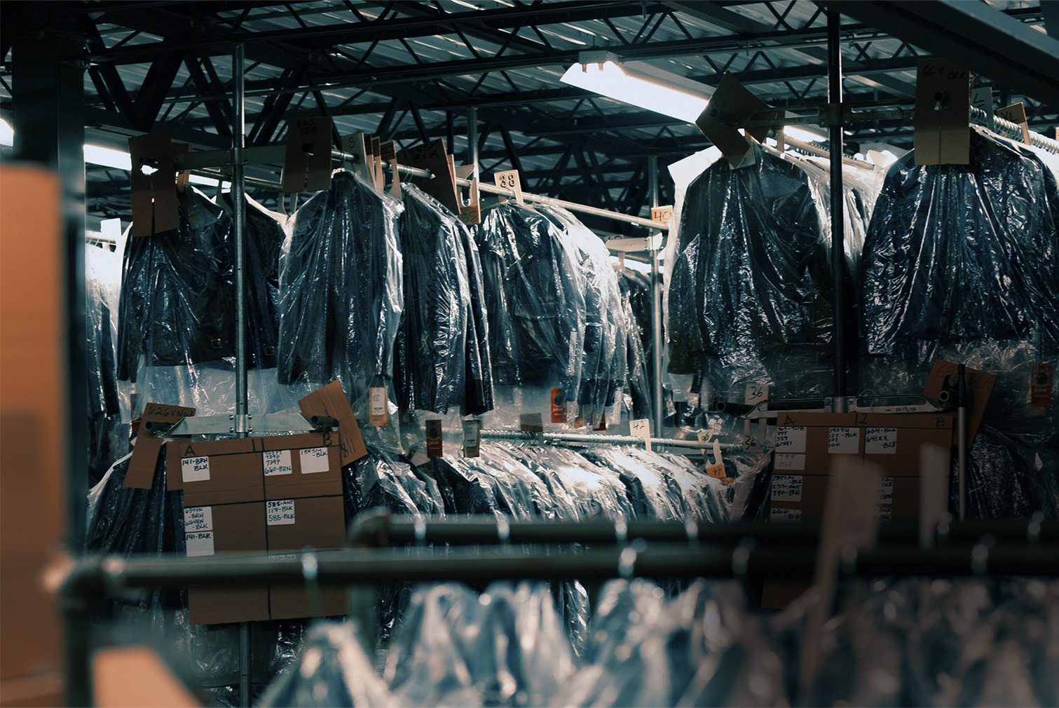 Jackets on hangers in the Schott factory warehouse