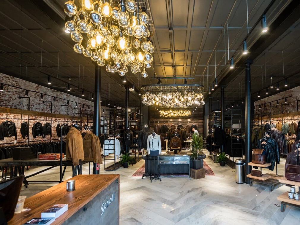 Inside view of the Schott NYC flagship store in San Francisco